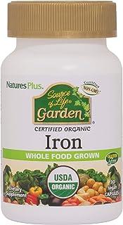 NaturesPlus Source of Life Garden Certified Organic Family Iron 18 mg Cap - 30 Vegan Capsules - Plant-Based Iron Supplemen...
