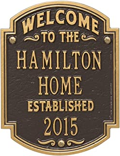 Whitehall Personalized Welcome to Our House Custom Indoor/Outdoor Aluminum Wall Plaque - Bronze/Gold