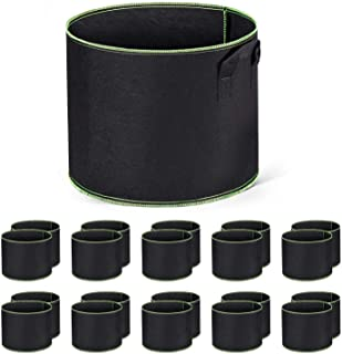 Delxo 10-Pack 5 Gallon Grow Bags Heavy Duty Aeration Fabric Pots Thickened Nonwoven Fabric Pots Plant Grow Bags with Handles