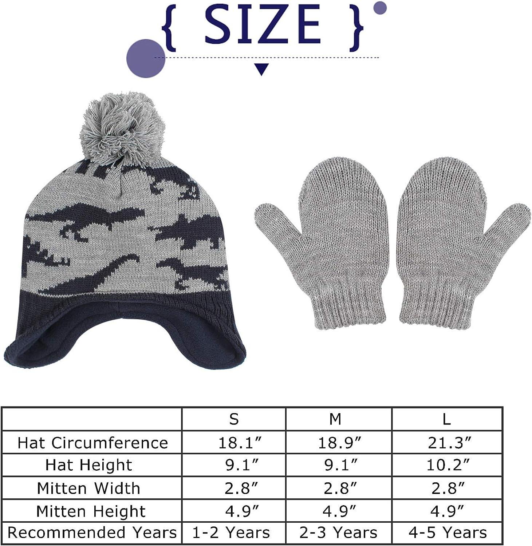 Zsedrut Dinosaur Winter Baby Beanie Hat Glove Set Fleece Lined Kids Boys Hat Knit Pompom Bonnet for Toddler Boys
