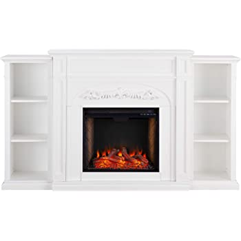SEI Furniture Chantilly Alexa-Enabled Smart with Fireplace Bookcases, White