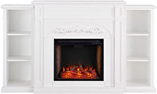 Southern Enterprises Chantilly Alexa-Enabled Smart with Fireplace Bookcases, White
