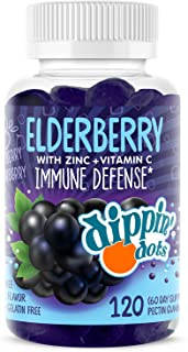 Dippin' Dots - Elderberry Gummies with Vitamin C & Zinc (120 Gummies)| Immune Defense Supplement with Natural Flavors | Pe...