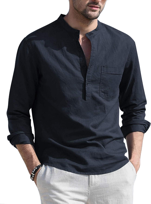 COOFANDY Outlet sale feature Mens Cotton Linen Henley Ranking TOP8 Shirt Beach Lightweight Casual
