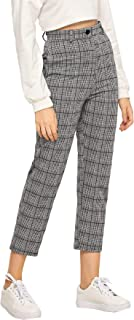 Women's Mid Waist Plaid Button Pants Cropped Trousers