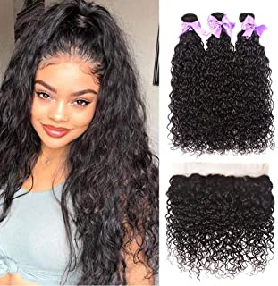 9A Brazilian Human Hair Water Wave Bundles with Frontal (14 16+12) Wet and Wavy Hair Weave Bundles with 13x4 Lace Frontal Closure Unprocessed Virgin Brazilian Water Wave Hair Extensions