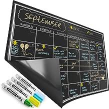 Magnetic Calendar for Refrigerator - Dry Erase Black Board for Kitchen Fridge - Bright Neon Chalk Markers - 17X12