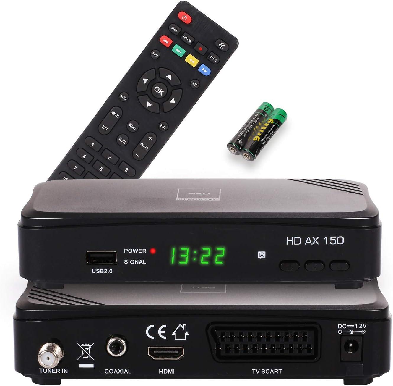 RED OPTICUM AX 150 Receptor Satélite con función de grabación PVR I Receptor satélite Digital HD con HDMI - SCART - USB - Coaxial I Fuente de alimentación 12V Ideal para Camping