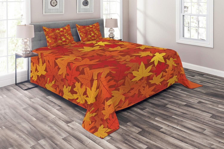 Ambesonne Orange Max 70% OFF Coverlet Colorful Autumn Maple Lea Fall Max 59% OFF Season