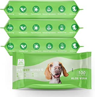 690GRAND Pet Grooming Wipes with Natural Organic and Hypoallergenic for Dogs Cats Puppies Kittens 100ct/Pack (Pack of 4, A...