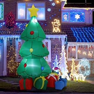 7.8 ft Inflatable Christmas Tree with Gift Boxes Decors Xmas Decorations with LED Lights for Outdoor Indoor Commercial Hom...