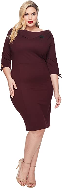 Unique Vintage - Plus Size Carmen 1/2 Sleeve Wiggle Dress