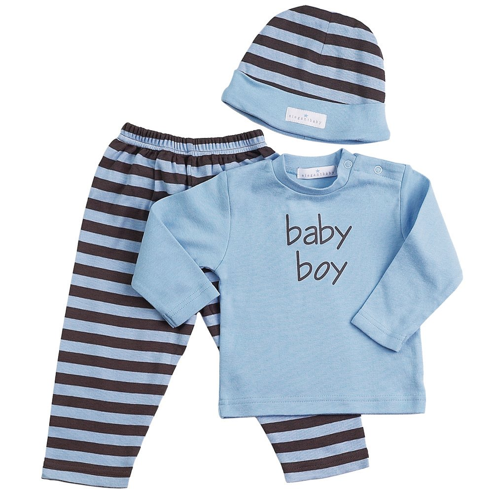 Elegant Baby Chocolate w/Blue dots 3-Piece Fashion Set; Legging, Long Sleeve tee and Cap, Large 6-12 Months