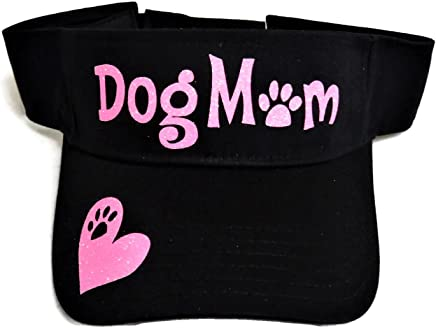 Neon Pink Glitter Dog Mom Paw Print Black Sun Visor Cap Hat Pet