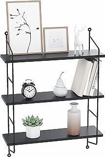 Homevol Industrial Floating Shelves Wall Mounted Metal Frame Urban Chic Display Wall Shelf, 3 Tier (Black)