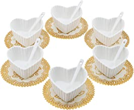 Set of 6 Small Porcelain Ramekins Condiment Dishes, Ceramic Dipping Cups, Snack Appetizer Serving Tray, Sauce Dish Plate, Dessert and Ice Cream Bowls, White Heart Shaped with 6pcs Dish Holders