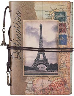 Leather Writing Journal Notebook, MALEDEN Vintage Traveler Notebook Sketchbook Classic Refillable Diary Planner for Girls and Boys with Blank Paper and Zipper Pocket