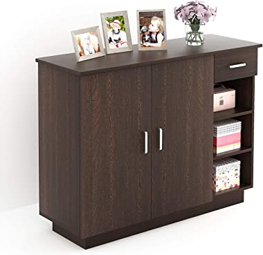 Bluewud Oleye Engineered Wood Shoe Rack Cabinet with Drawer (Wenge)