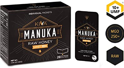 Kiva Raw Manuka Honey SNAP-Packets, Certified UMF 10+, New Zealand (28 Count | On-The-Go Packets)