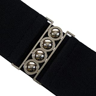 Trimming Shop 76mm Wide Women's Elasticated Corset Style Stretch Waist Belt with Silver Buckle Fastening for Ladies Gowns,...