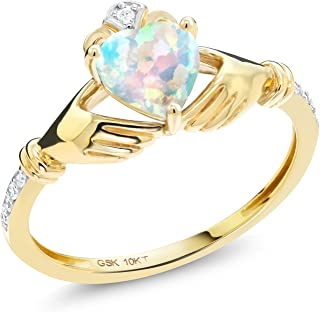 0.81 Ct Irish Celtic Claddagh White Simulated Opal Diamond Accent 10K Yellow Gold Ring