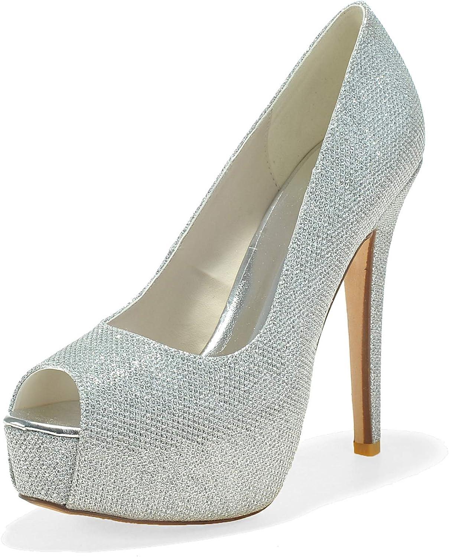 Schuhe Hochzeit Frauen Wei Peeling Sandalen Schwarze Braut Elfenbein Pumps Groe Glitzer Mary Low High Heels   12,5 Cm absatz