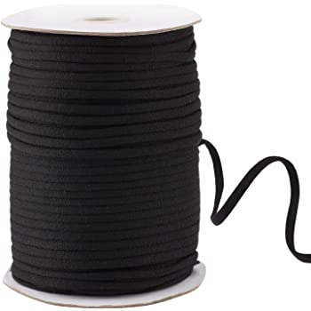 145 Yard 1/4 Inch Wide Black Elastic String Cord Bands Rope for Sewing Crafts DIY Mask (1/4 Inch 145 Yards)