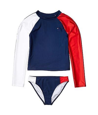 Tommy Hilfiger Kids Color-Block Two-Piece Rashguard Swimsuit (Big Kids) (Flag Blue) Girl