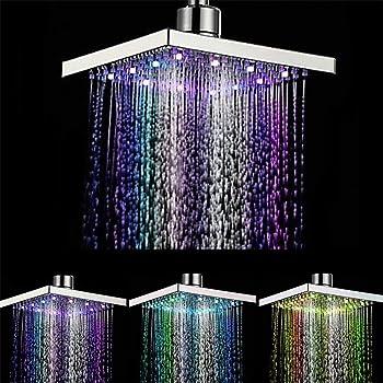 7 Colori Cambiare Piazza doccia acqua della testa di flusso alimentato da 8 pollici ABS finitura cromata per il bagno