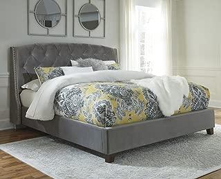 Signature Design Kasidon Gray Velvet King Upholstered Bed by Ashley