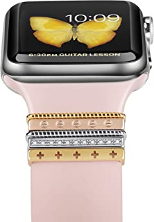 EloBeth Decorative Rings Loops Compatible with Apple Watch Bands 44mm 42mm 40mm 38mm iWatch Series 5 4 3 2 1 Band Accessories (Gold Rings no Band)