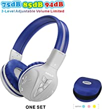 SIMOLIO Wireless Headphones for Teens, Kids Bluetooth Headphone with 75dB/85dB/94dB Volume Limited, Kids Wireless Headsets with Mic, Bluetooth Boys Headphones with Hard case for School (Grey)