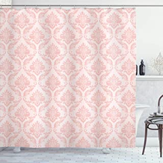 Lunarable Blush Shower Curtain, Damask Motif Retro Design of Floral Pattern with Swirling Petals and Branches, Cloth Fabric Bathroom Decor Set with Hooks, 75