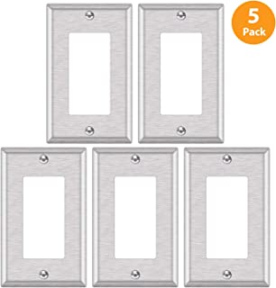 "5 Pack - ELECTECK 1-Gang Metal Decor Wall Plate, Non-corrosive Stainless Steel Light Switch Outlet Cover, Standard Size 4.52"" x 2.77"", Silver"