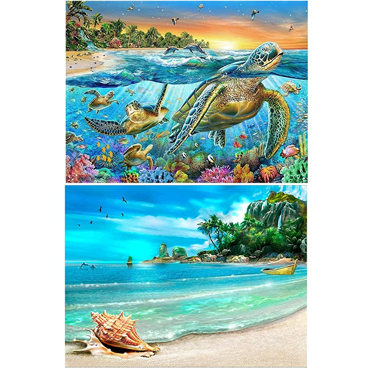 2 Packs 5D DIY Diamond Painting Paint by Numbers Kits for Adult, Turtle & Beach Full Drill Diamond Embroidery Paintings Pictures Arts Craft for Home Decoration by INFELING, Christmas Gift Idea