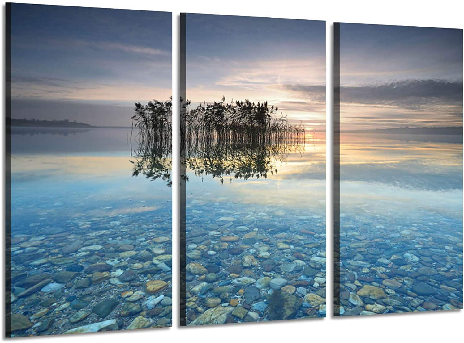 Scene Picture Beach Landscape Artwork  Water Tree on Higher Ground in Summer Sunrise Print Multi-Piece Image on Wrapped Canvas for Wall Art
