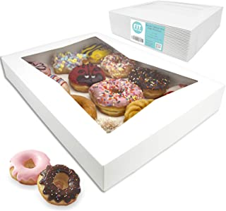 """[18 Pack] 16x12x2.25"""" White Bakery Box with Window - Holds 12 Donuts, Auto-Popup Cardboard Gift Packaging and Baking Containers, Cookies, Brownies, Pastry and Bread Boxes"""