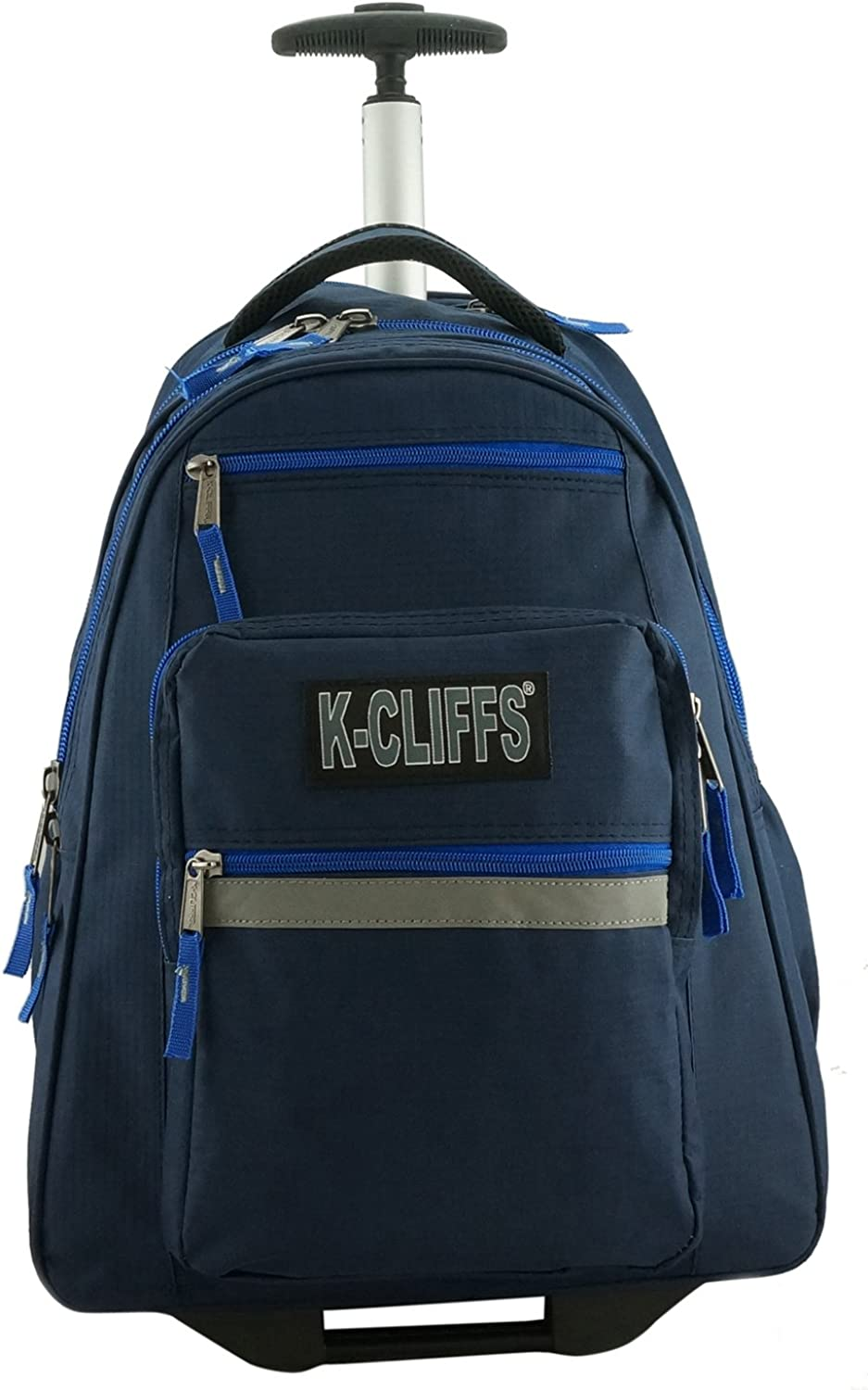 Rolling Backpack School Backpacks with Wheels Deluxe Trolley Book Bag Multiple Pockets (Navy)
