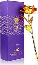 ALLOMN 24K Golden Rose, Plastic Long Stem Real Rose Dipped in Gold with Gift Box, Best (Gold)