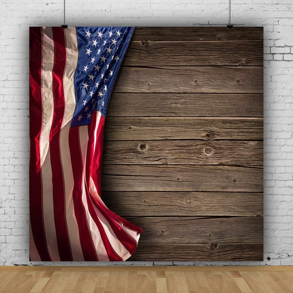 SZZWY American Flag Backdrop Independence Day Backdrop 6.5x6.5ft Photography Background 4th of July Party Backdrop Wood Board Labor Day Veterans Day Kids Adults Portraits Photo Wallpaper