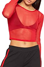 Rimi Hanger Ladies Plain Sheer Mesh Crop Top Womens Fancy Crew Neck Long Sleeve Stretchy Top S,M,L