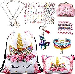 RLGPBON Unicorn Gifts for Girls 9 pack Drawstring Backpack/Makeup Bag/Unicorn Pendant Necklace/Bracelet/Hair Ties