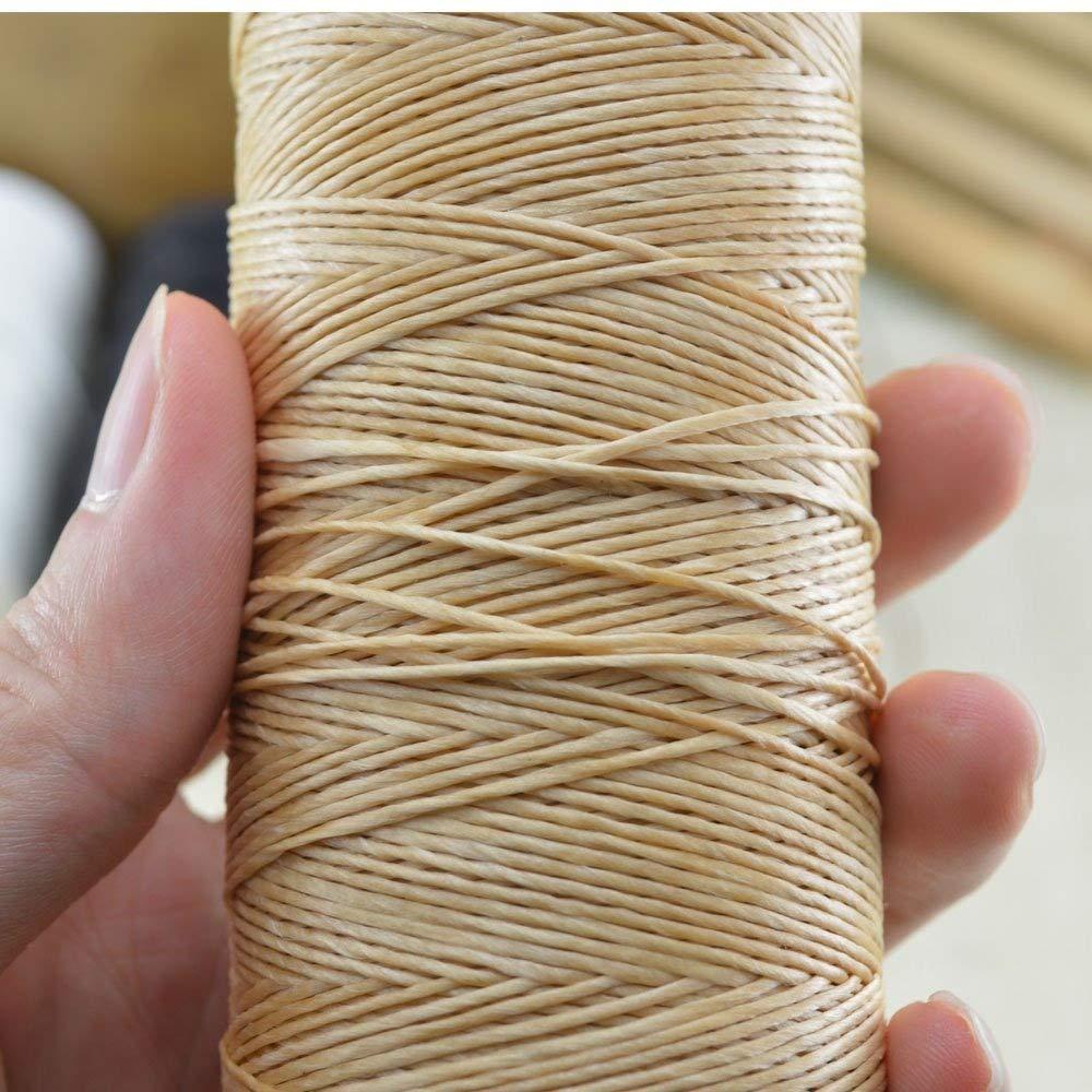 Carrete beige de hilo encerado de 220 m 0.8 mm, usado para coser ...