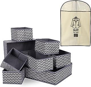 Boites de Rangement de Non-tissé, 8 Organisateur Tiroir + 1 Sac à poussière de costume, Ideal pour Chaussettes, Soutiens-G...