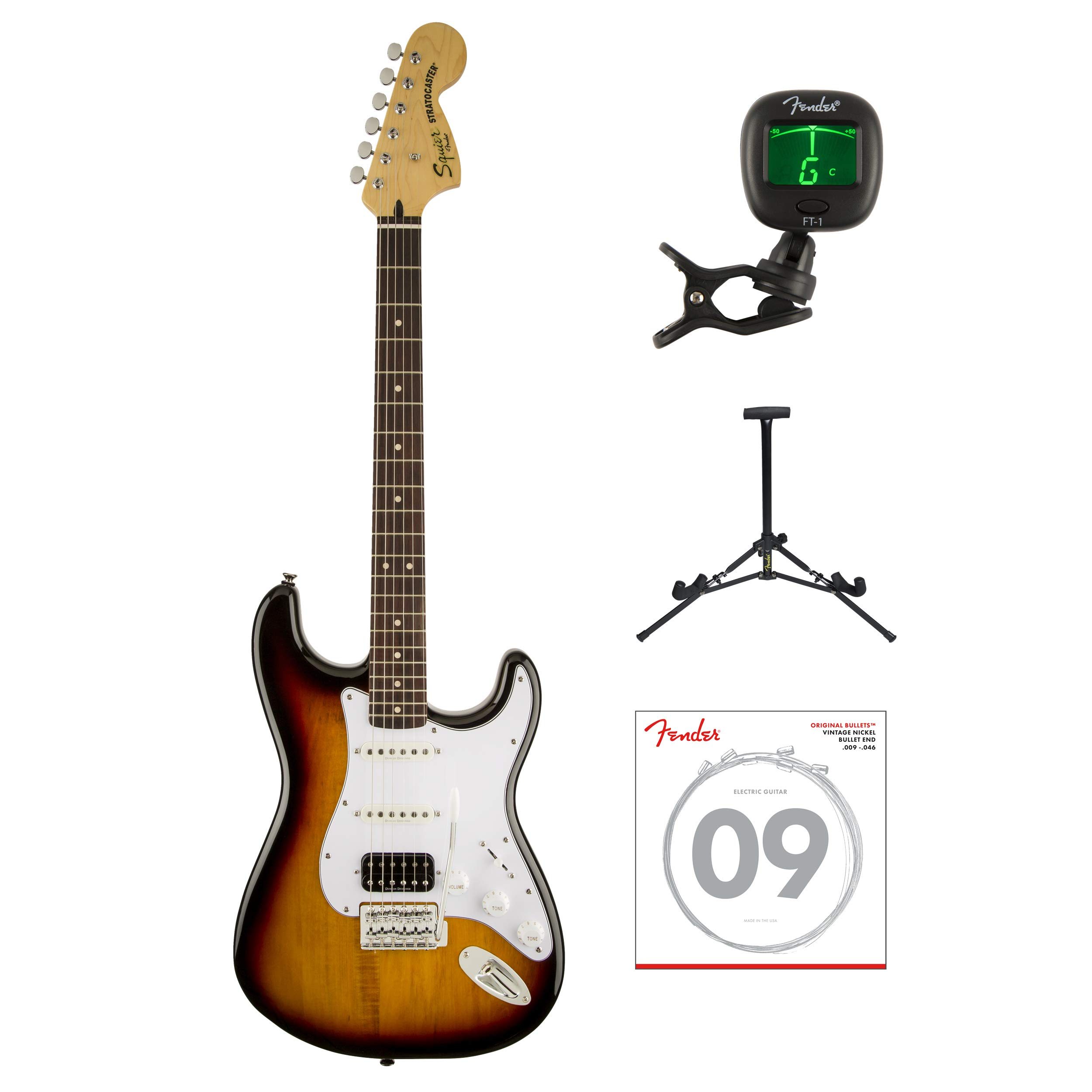 Cheap Fender Squier Vintage Modified Stratocaster Electric Guitar HSS with Tuner Strings & Stand (3-Tone Sunburst) Black Friday & Cyber Monday 2019