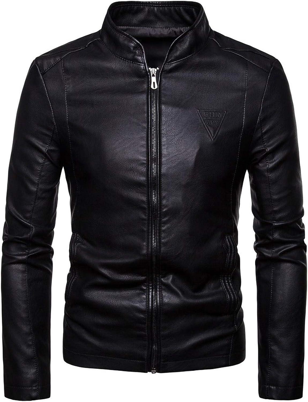 Men's Stand Collar Leather Motorcycle Jacket Moto Motorbike Racing Biker Coat Classic Vintage Distressed Outwear (Black,Medium)