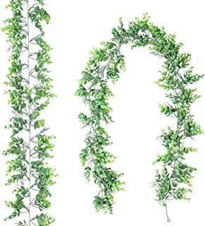 Luyue 2 Pack 5.9ft Artificial Eucalyptus Garland Plant Hanging Greenery Leaves Faux Babysbreath Flower Vines for Decoratio...