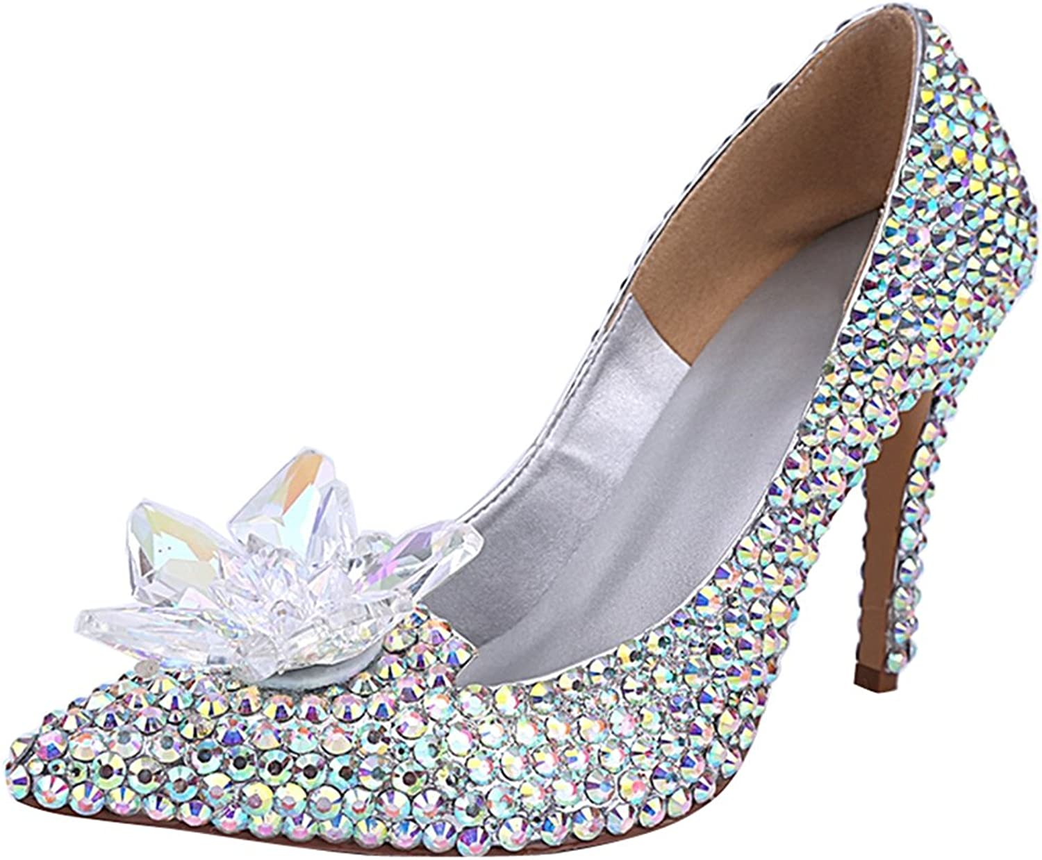 TDA Women's Pointed Toe Dazzling Rhinestones Patent Leather Wedding Party Dress Stiletto shoes