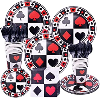 LCZ 113pcs Poker Carte Vaisselle Ensemble jetable,Casino Carte Assiettes en Papier,Vaisselle Vaisselle cuillère fête d'ann...
