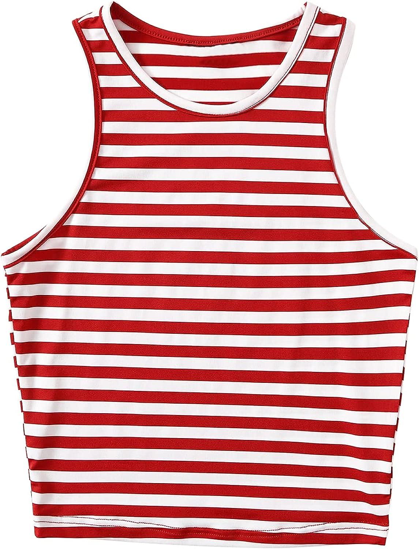 Milumia Women's Casual Striped Crewneck Sleeveless Workout Gym Jogging Tank Top